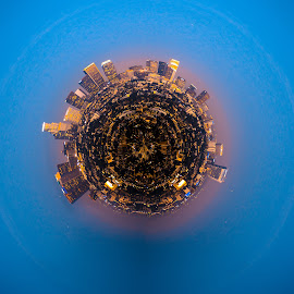Planet Los Angeles by Brandon Williams - City,  Street & Park  Skylines ( abstract, planets, planet, art, losangeles, artistic, los angeles, artistic objects, cityscape, globe, wrapping )