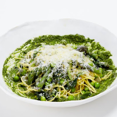 Spaghetti With Spring Vegetables, Ramp Pesto And Pecorino