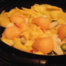 Peruvian Cannon Ball Ceviche with Mango and Melon