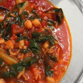 Tomato-Chickpea Soup with Rice and Swiss Chard