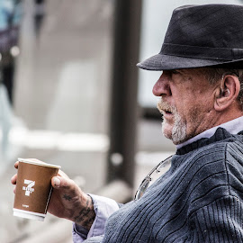 Morning coffee by Gayan Wijesinghe - People Portraits of Men ( old, drinking, coffee, white, morning, portrait, hat, drink, australia, middle age, men, man, sydney )