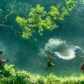 Playing Water by Miwa Fajri - Babies & Children Children Candids ( human interest )