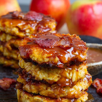 Apple, Cheddar and Bacon Fritters in Caramel Sauce