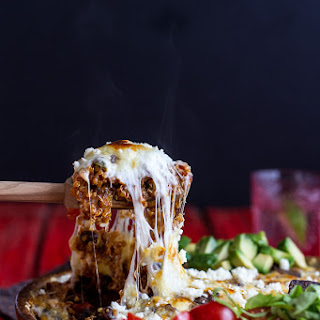 Cheesy Black Bean + Quinoa Taco Bake.