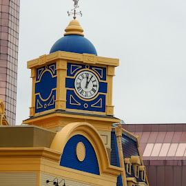 Caesar's Clock by T. Rick Jones - Buildings & Architecture Architectural Detail ( blue, clock, atlantic city, casino, new jersey )