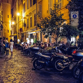 evening by Vibeke Friis - City,  Street & Park  Street Scenes ( rome streets, evening,  )