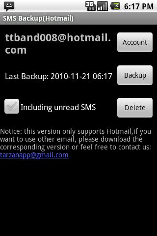 SMS Backup Hotmail