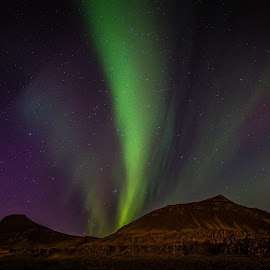 Wonder Lights III by Palmi Vilhjalmsson - Landscapes Starscapes ( west iceland, iceland, sky, starry night, stars, akranes, aurora borealis, aurora )