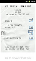 Screenshot of Receipts