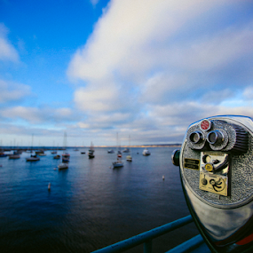 Looking Glass by Andrew Ng - Landscapes Waterscapes ( coin operated, monterey, looking glass, california, pch 1, binoculars, beachside, marina, pacific coast highway )