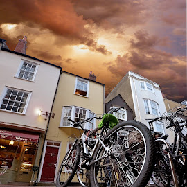 Oxford by Dorota Grolewska - City,  Street & Park  Neighborhoods ( oxford sky bicycle shops road )
