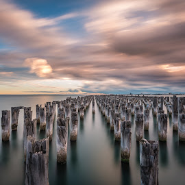 Princes Pier, Melbourne by Zubair Aslam - Landscapes Waterscapes ( stormy, water, melbourne, waterscpae, still, seascape, storm, port melbourne, australia, weather, pier, long exposure, princess pier, moving clouds, still water )