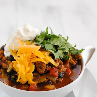 """Chorizo"" & Black Bean Vegetarian Chili"