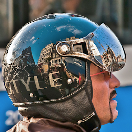 Amsterdam´s in his Head! by Jesus Giraldo - People Body Parts ( urban, concept, reflection, art, amsterdam, man, city )