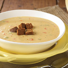 Canadian Cheese Soup with Pumpernickel Croutons