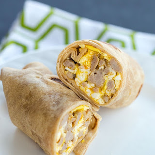 Egg, Sausage & Cheddar Breakfast Burritos