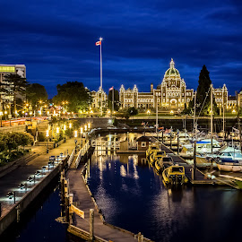 Victoria Inner Harbour by Stephen Bridger - City,  Street & Park  Night ( harbor, canada, harbour, architecture, travel, bc legislative building, parliament, night photography, city lights, victoria, night, bc, travel photography, british columbia )