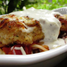 Baked Chicken Parmesan over Pasta