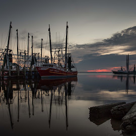 Just Before Dawn by Ron Maxie - Transportation Boats