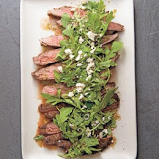 Marinated Flank Steak with Lemony Arugula and Feta Salad