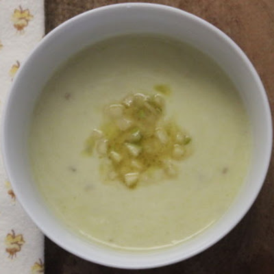 Roasted Leek and Cauliflower Soup with Green Apple Vinaigrette