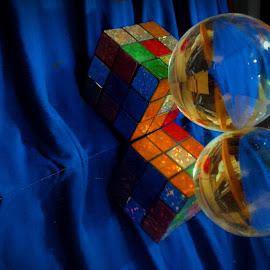 Meditative Rubix by Cecilia Sterling - Artistic Objects Education Objects ( mirror, reverse, blue, rubix cube, meditation ball )