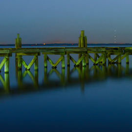 green dock by David Ubach - Landscapes Waterscapes ( water, green, night, dock )