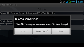 Screenshot of DOC to PDF Converter
