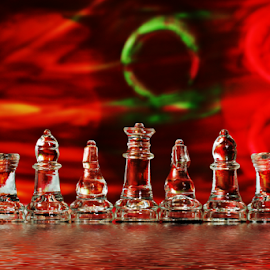 by Dipali S - Artistic Objects Other Objects ( reflection, bishop, red, board game, queen, chess, knignt, game, refraction, king )
