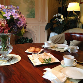 Morning tea by Pamela Howard - Buildings & Architecture Other Interior ( setting, morning tea, elegant, table, flowers, tea, gracious )
