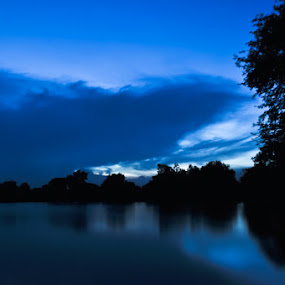 The Lake by Akash Kumar - Novices Only Landscapes ( dawn, blue, silhoutte, lake, evening )