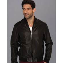 Cole Haan - Spanish Grainy Leather Varsity Jacket (Black) - Apparel