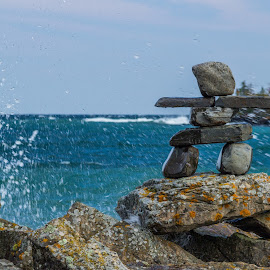 Surf's Up! by Linda Farwell Ryma - Nature Up Close Rock & Stone ( inuksuk, splash, lake superior, silver islet, rocks )