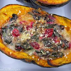 Stuffed Squash with Brie, Cranberries and Greens