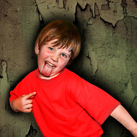 Daniel by Angelica Glen - Novices Only Portraits & People ( child, grunge, cheeky, tongue, paint, boy, peeling )