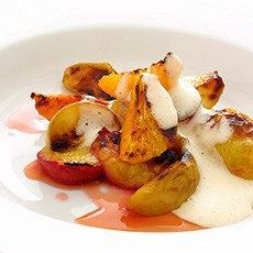 Grilled Autumn Fruits with Sabayon Cider Sauce