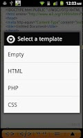 Screenshot of Android Web Editor Lite