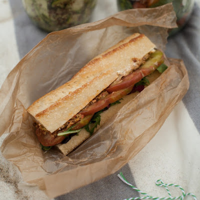 Heirloom Tomato, Olive Tapenade, and Goat Cheese Sandwich (+Limantour Beach)