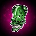 Cool Green Skull, theme 480x80 icon