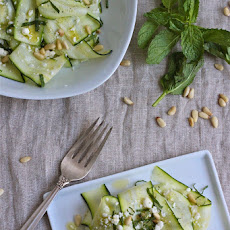 Zucchini Ribbon Salad with Toasted Pine Nuts, Mint and Feta