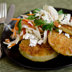 Fried Green Tomatoes with Crunchy Vegetable Slaw