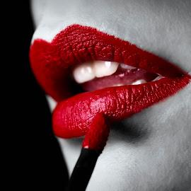 Makeup by Sadzak Vladimir - People Body Parts ( red, woman, makeup, lips, lipstick, brush, close up, selective color, pwc )