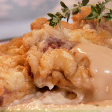 Chicken Fried Lamb with White Wine Pan Gravy