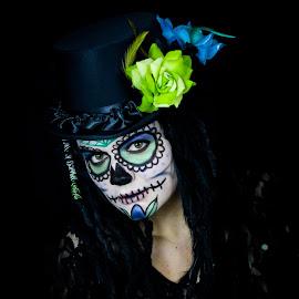 Lacerta Cosmonaut by Brooke Beauregard - People Body Art/Tattoos ( skull, neon, face paint, dark, sugar skull, day of the dead )