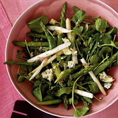 Asparagus and Spring Greens Salad with Gorgonzola Vinaigrette
