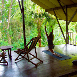 Rainforest Yoga by Donovan Twaddle - Novices Only Portraits & People ( southern, girl, uvita, jungle, female, hostel, woman, costa rica, relaxation, yoga, rainforest )