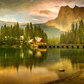 Emerald Lake by Joseph Law - Landscapes Waterscapes ( national park, bushes, sunny, rocky mountains, reflections, trees, emerald lake, bridge, hotel, rocks, yoho )