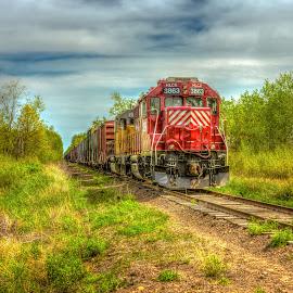 Watercolor Train by Mark Goodman - Transportation Trains ( tomah, wisconsin, markgoodmanphoto, train, landscape photography, hdr photography )