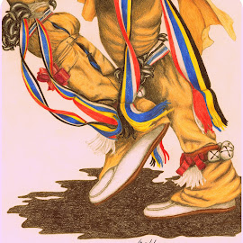 Dancing Feet by Lew Davis - Drawing All Drawing ( sketch, person, dancers, indian dancer, color pencil, moccasins, indian, regalia, male dancers, pencil drawings, buckskin, lew davis, native american dancer, people, native american, pencil, indians, pencil drawing, sketches, color pencil drawings, indian dancers, dancer, male dancer )