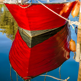 Red Reflection by Tracey Pogson - Transportation Boats ( water, reflection, red, sky, sailing, trees, boat )